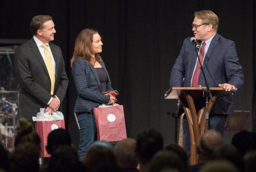 KEYT NewsChannel 3's C.J. Ward and Beth Farnsworth are lauded by President Beebe