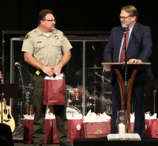 President Beebe thanks Lt. Brian Olmstead and Santa Barbara County Sheriff's Department for their service during the Thomas Fire