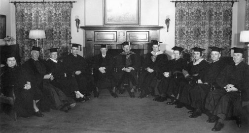 Ruth Kerr (left) and the faculty in 1944