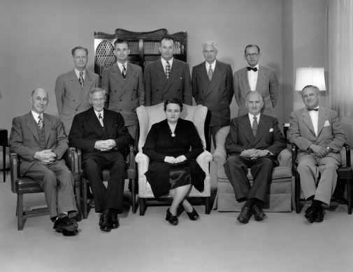 Ruth Kerr (center) and the Westmont Board of Trustees in 1947