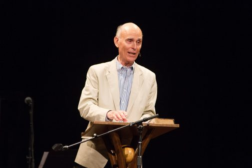 Dr. Bob Gundry in Homecoming chapel in 2012
