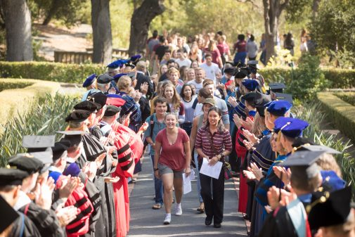 The First Walk, which anticipates student's final walk at Commencement, is a longtime Westmont tradition