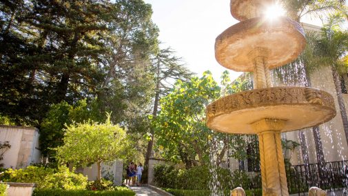Westmont's Italian fountain on the President's Patio