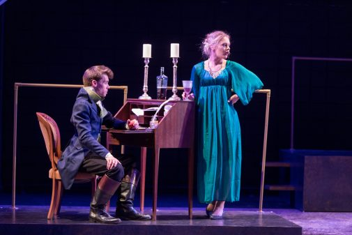Sean McElrath as Mr. Darcy and Emi Brewer as Miss Bingley