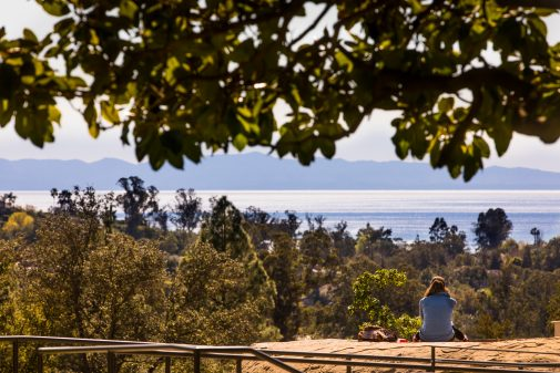 The view of the Channel Islands from Westmont's famed rock
