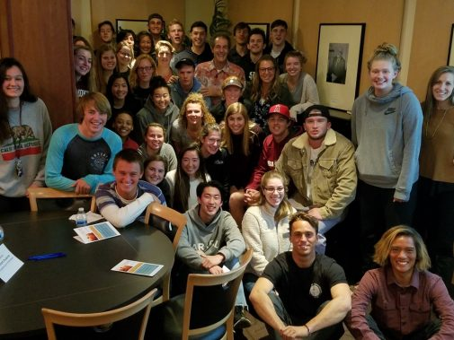 Shaun Tomson with Westmont students in February
