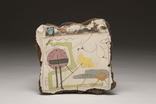 Shield, Sara Series, Gas Fired Earthenware with Engobes, c. 1983, 18.5 x 18.25 x 2.75 in., Don Reitz Collection