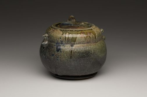 Lidded Jar, Salt Fired Stoneware, 1970, 7.75 x 9 x 9 in., Don Reitz Collection
