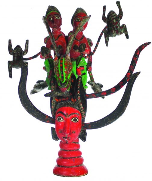 "Sierra Leone, Temne Artist, ""Mami Wata, Ode-Lay Society Mask,"" Polychrome on Wood, gift of Fima and Jere Lifshitz"