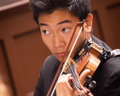 Westmont student playing the violin