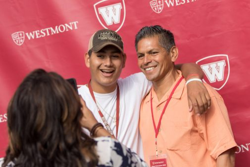 New Westmont students take photos with family members at Orientation