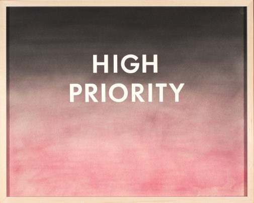 """Edward Ruscha's """"High Priority,"""" 1975, Pastel on paper"""