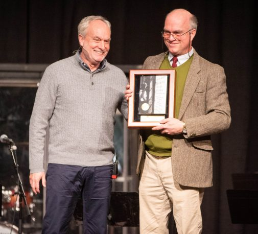 """Mark Nelson (right) presents Gary W. Moon with an award for """"Becoming Dallas Willard"""""""