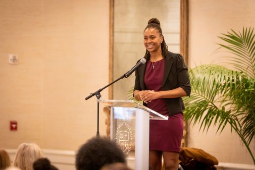 WNBA legend Tamika Catchings inspired the sold-out crowd