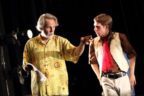 """Blondell instructs Chris Wagstaffe in the 2011 production of """"Peer Gynt"""""""