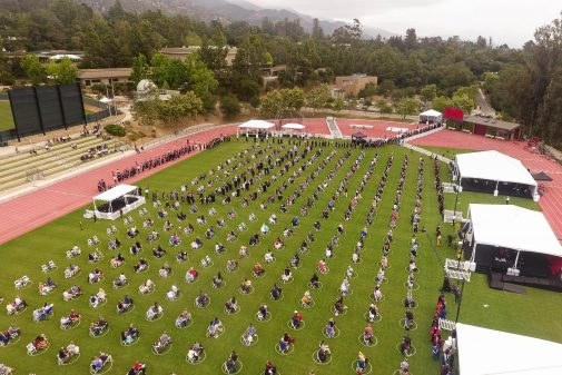 An aerial view of Commencement
