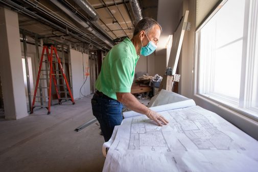 Randy Jones, director of campus planning, oversees the renovation of the first two floors of Westmont Downtown for the new nursing program.