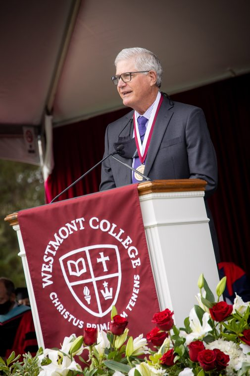 Ron Werft, president and CEO of Cottage Health, spoke at Commencement May 8