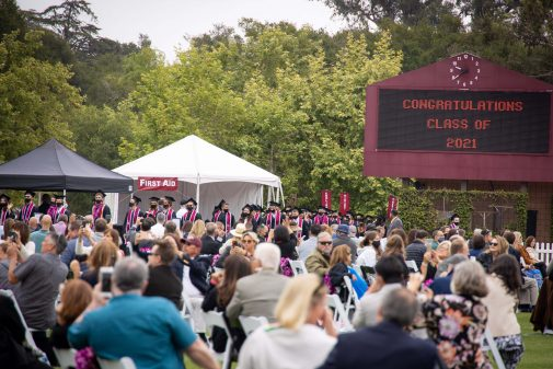 The Westmont College Class of 2021 enters Thorrington Field