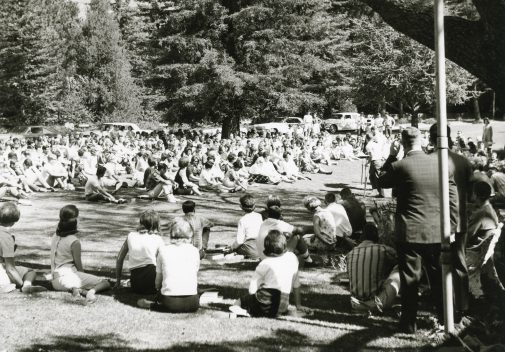 Students gather for chapel under the giant redwood in the mid-'60s.