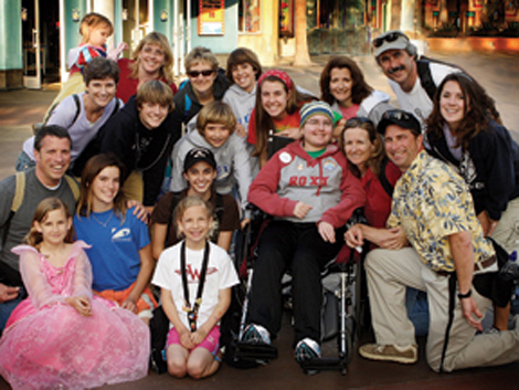 The Smelley, Elliott and Ranck families at Disneyland
