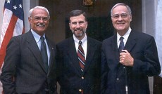 Former presidents Lyle Hillegas and David Winter with Stan Gaedes