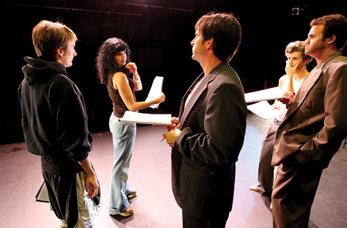 Lilia Abadjieva directs Westmont actors Nolan Hamlin (left) and Justin Davis (far right), and Lit Moon actor as well as Westmont professor Mitchell Thomas (center) and alumnus Casey Caldwell '08