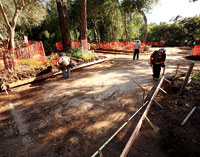 The re-routed road takes shape near the Art Center.