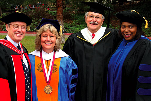 Participants in the installation ceremony: Walter Hansen (left), Judy L. Larson (second from left), Tony Askew and Amalia Amaki.