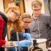 Chemistry students work with Dr. Michael Everest