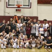 The men's and women's basketball teams celebrate after clinching GSAC Championships